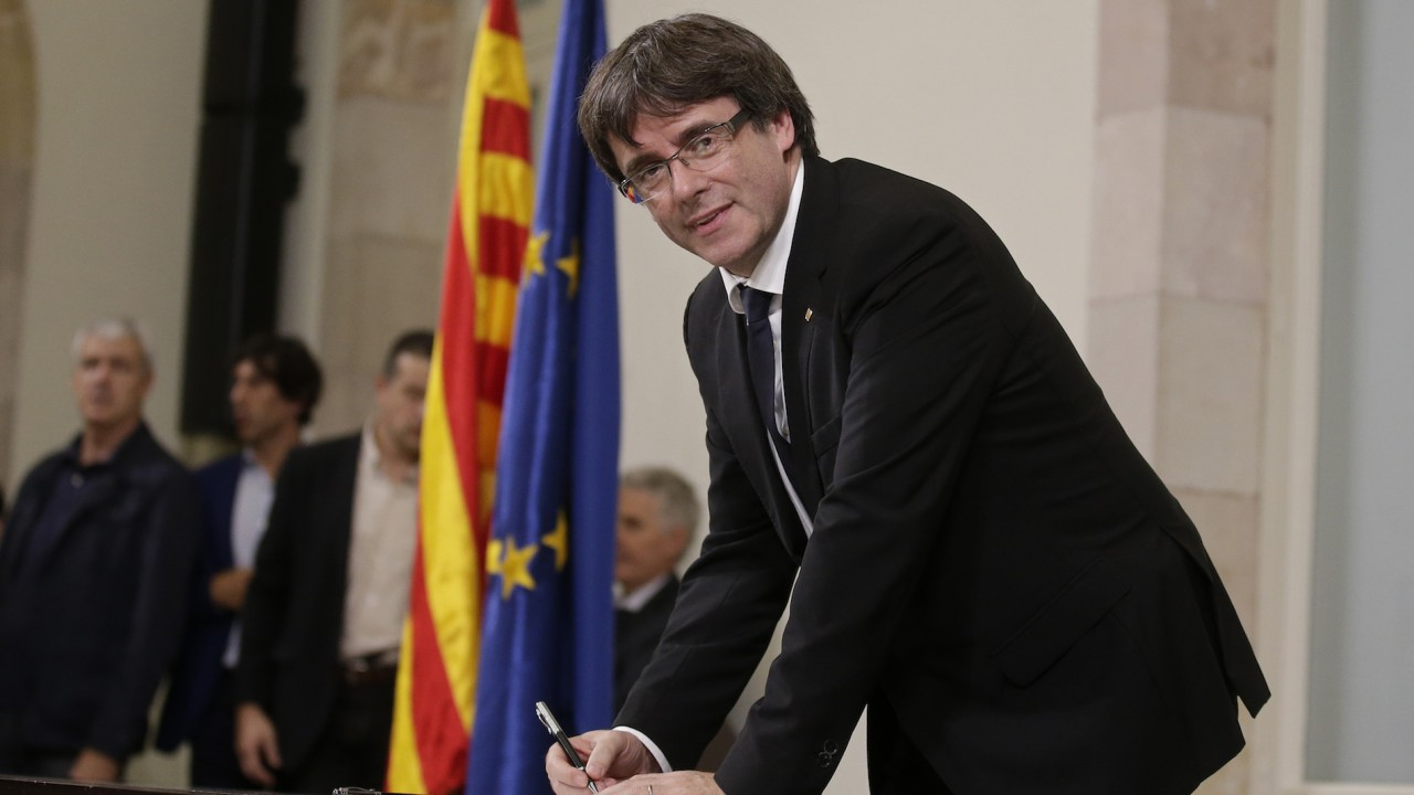 Did Catalonia declare independence? Yes, no, maybe so.
