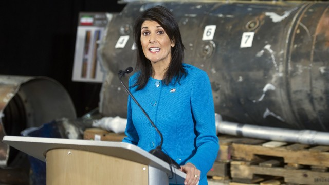 Haley: Yemeni Houthi missiles fired at Saudi Arabia came from Iran, violate UN resolution
